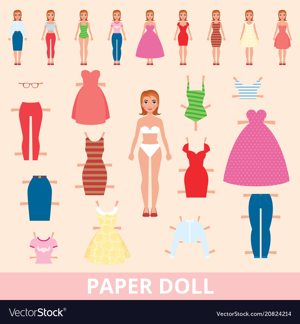 Paper doll and a set of different fashion