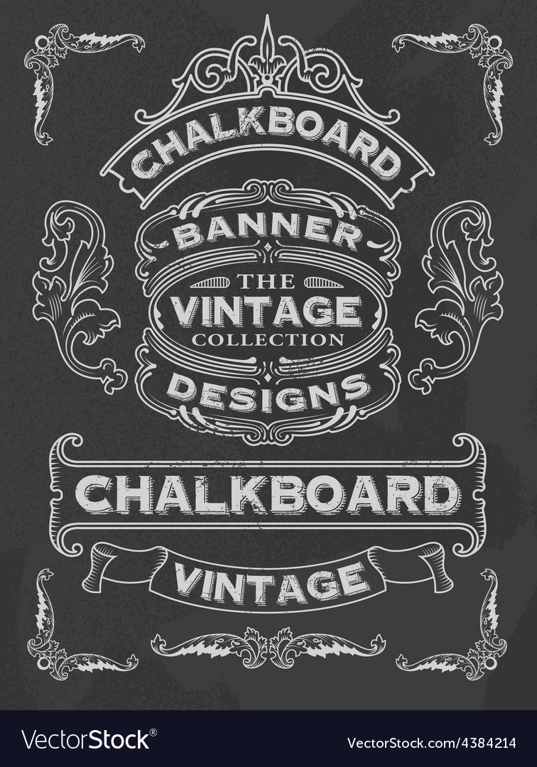 Retro Banner and ribbon blackboard design set