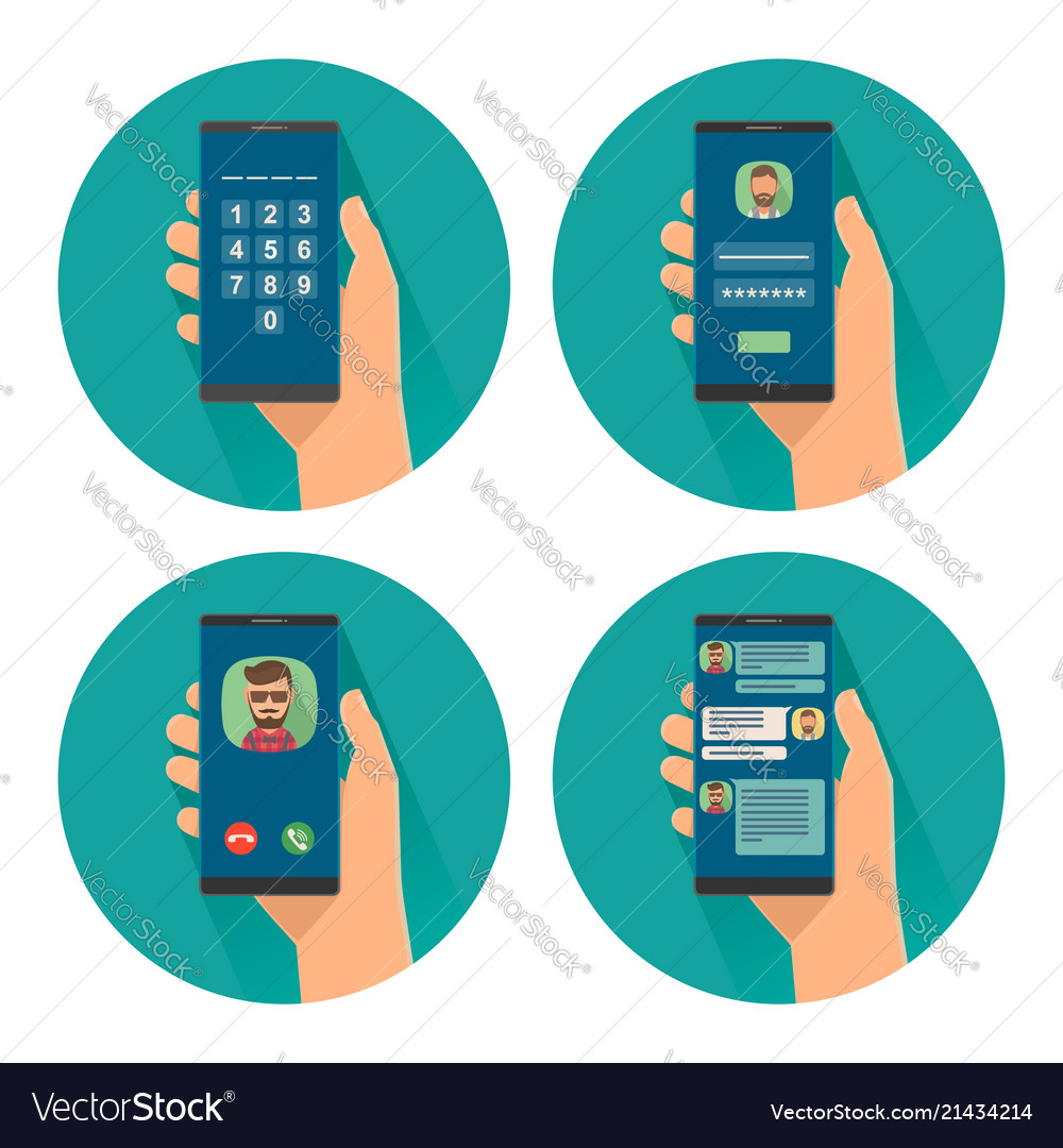Set icon with male holding smartphone color flat