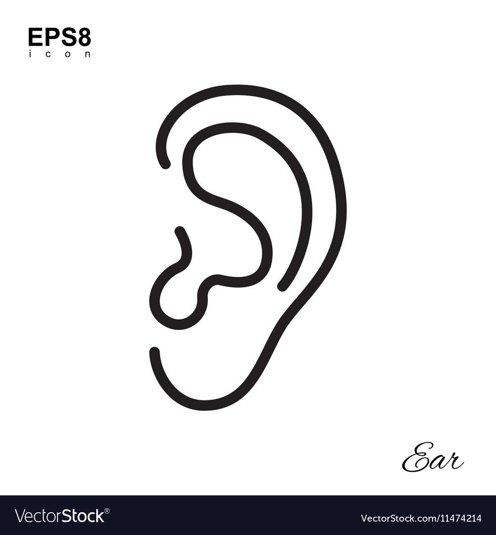 Simple Human Ear Icon vector image