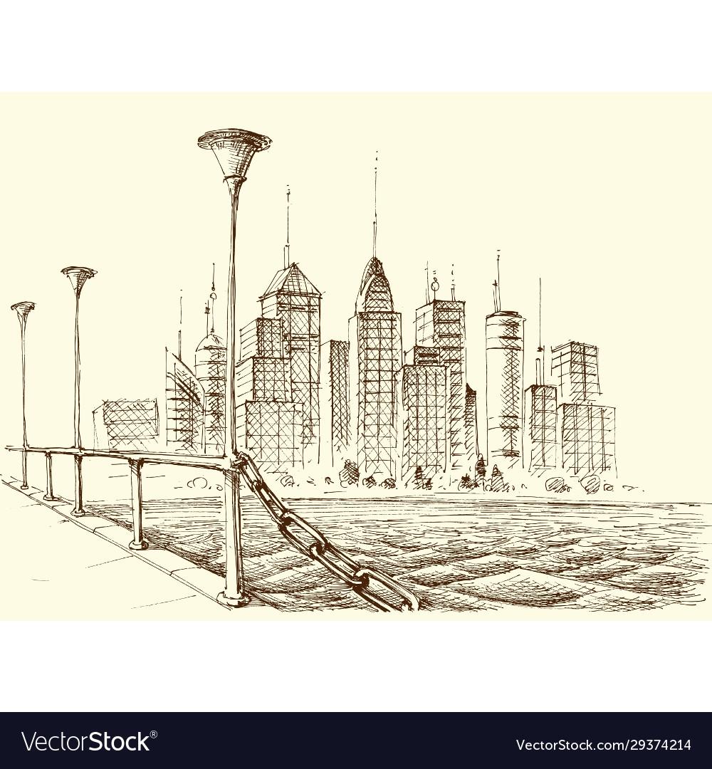 Skyscraper panorama city view from a bridge sketch