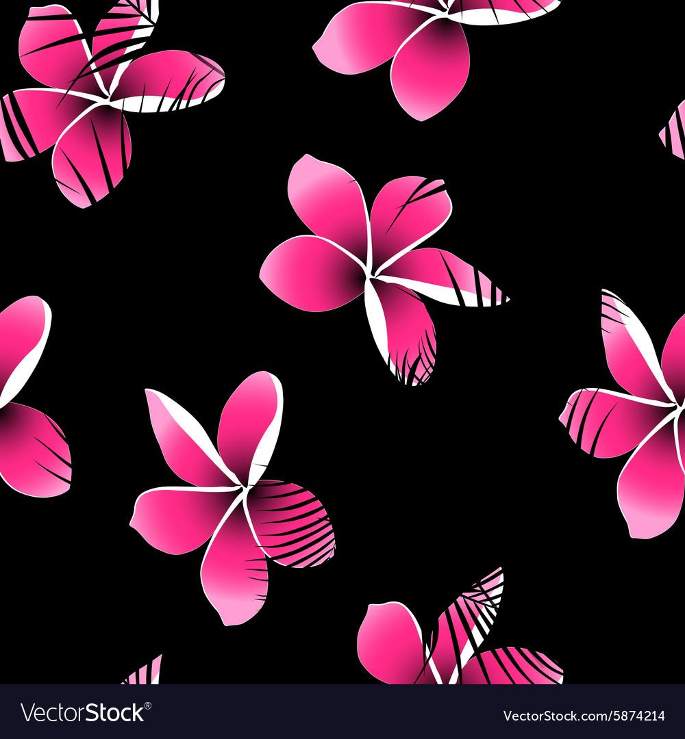 Tropical palm leaves over pink frangipani seamless