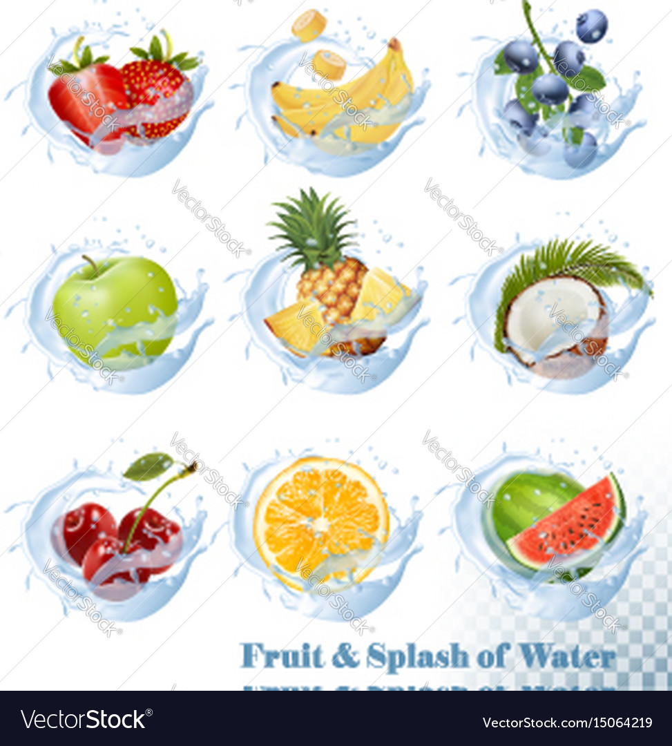 Big collection of fruit in a water splash icons