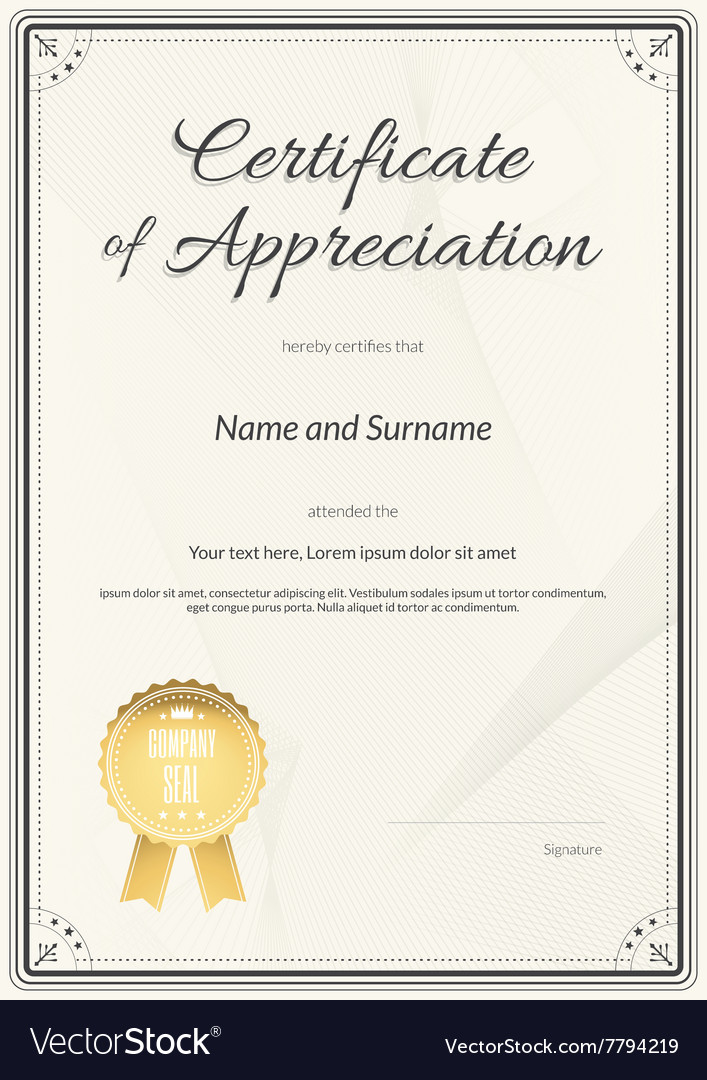 Certificate Of Appreciation Template Royalty Free Vector