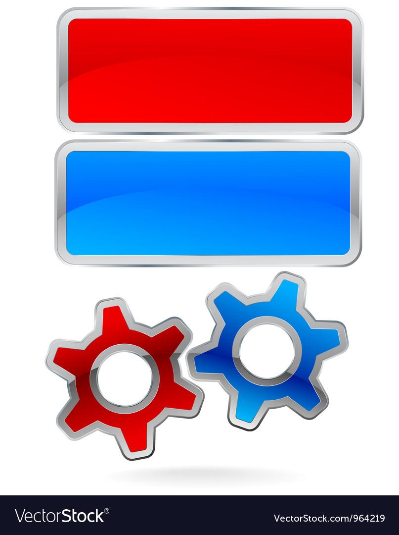 Gear Cog Logo Labels vector image