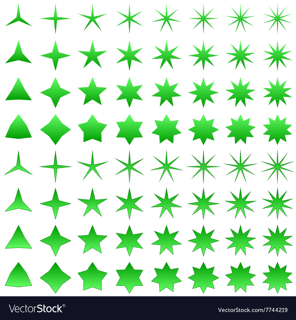 Green star symbol set