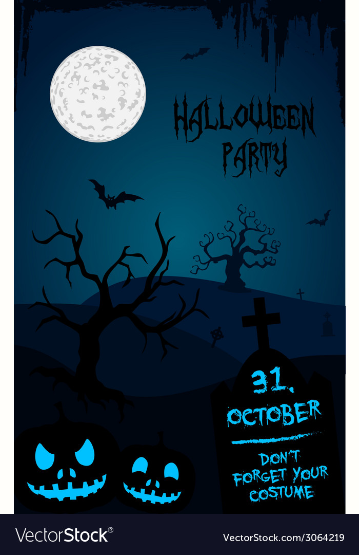 halloween party flyer template blue and black vector image
