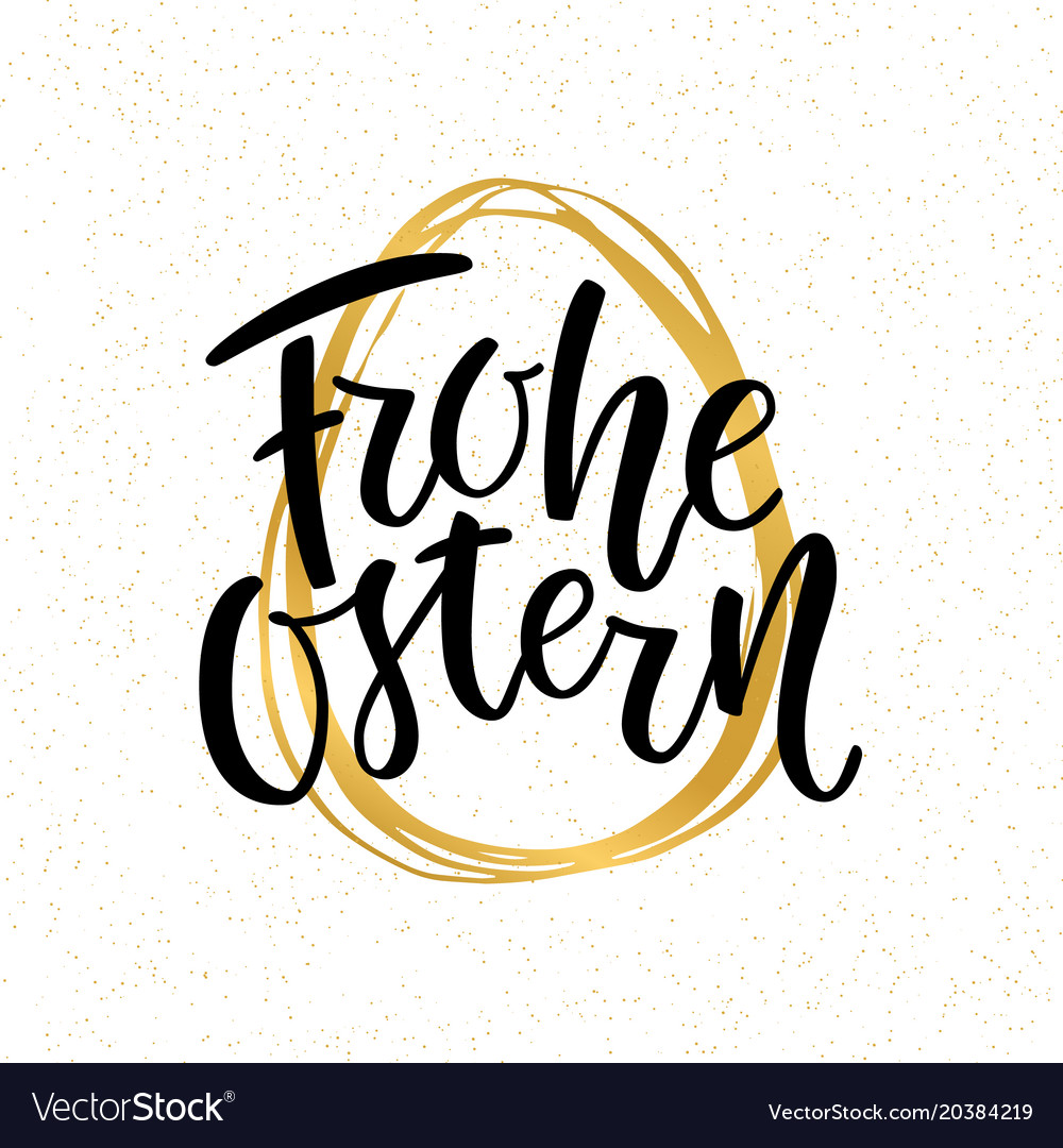 Happy easter german text lettering calligraphy on vector image