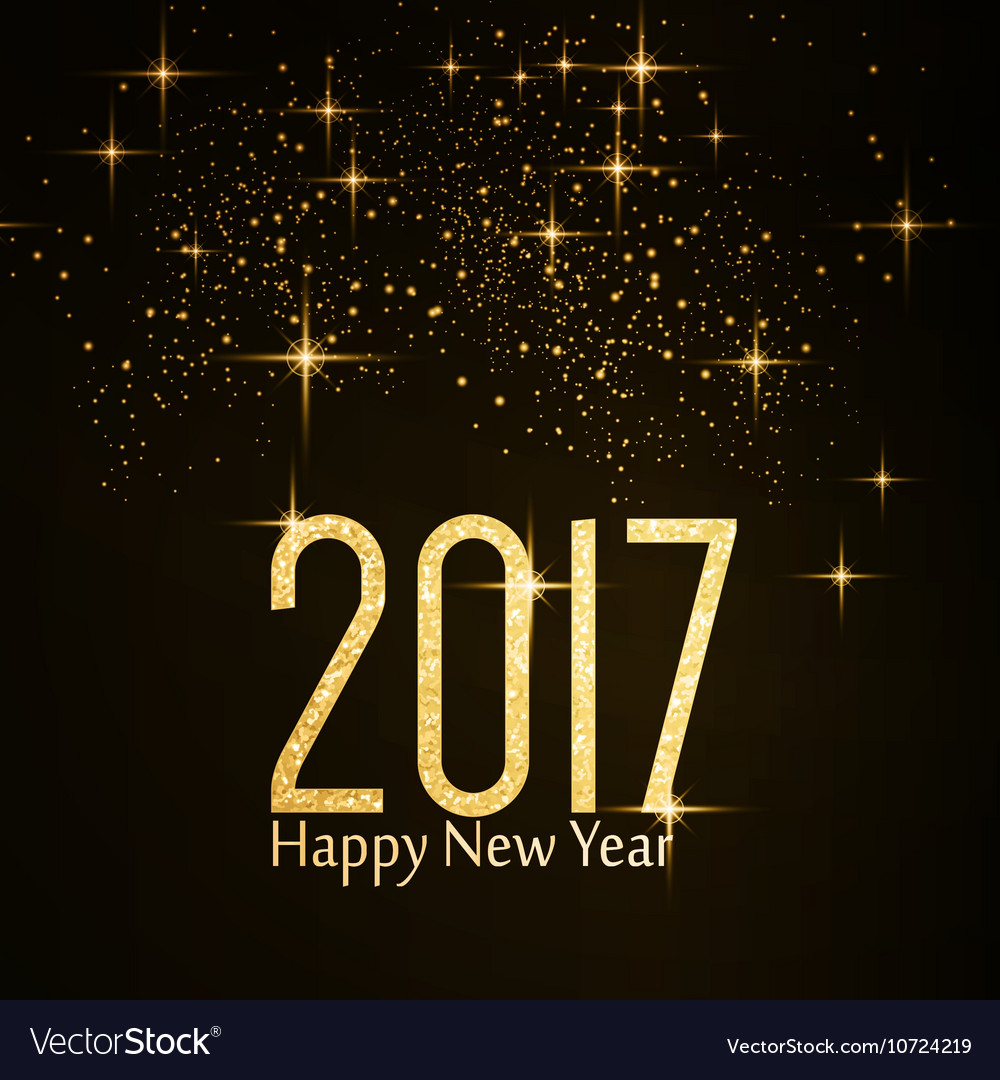 Happy New Year 2017 gold glitter vector image