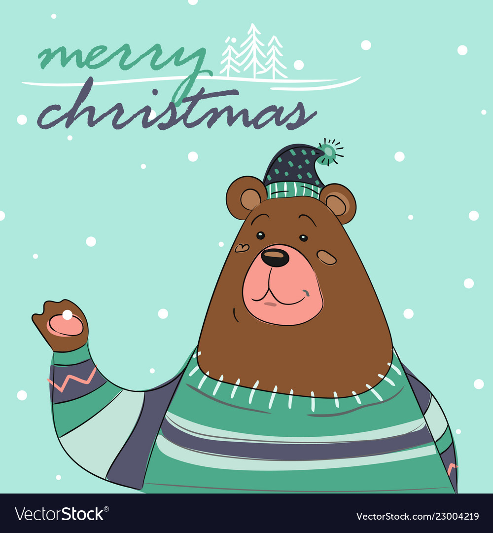Merry christmas card of bear with scarf