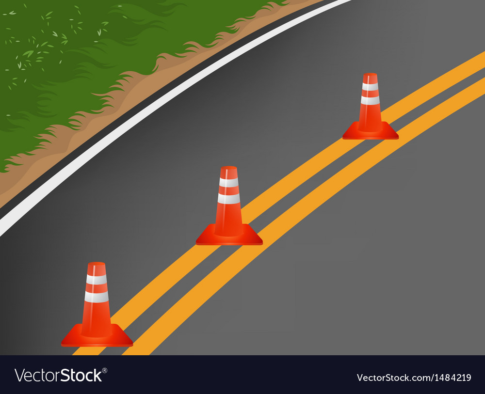 Road with traffic cones cartoon background