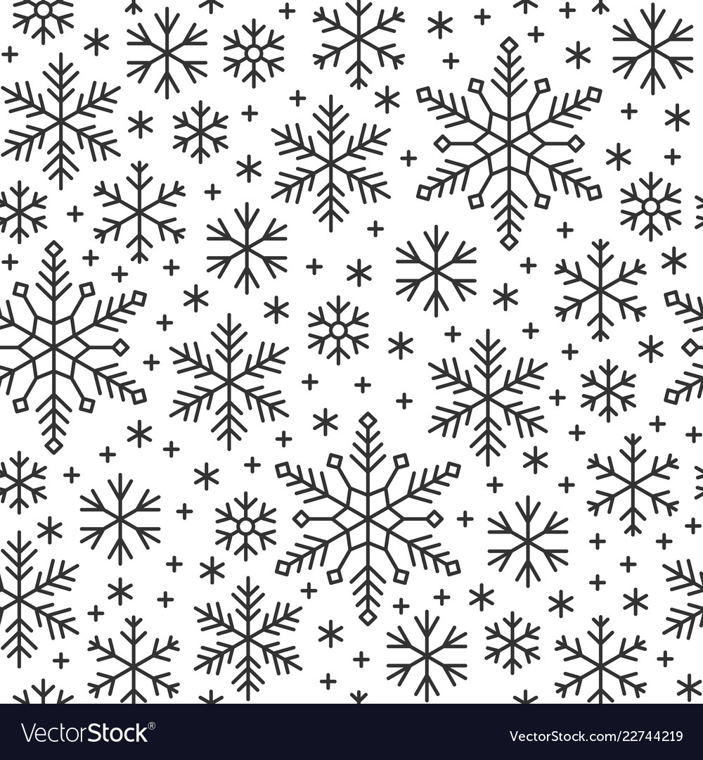 Snow flake line seamless pattern winter background