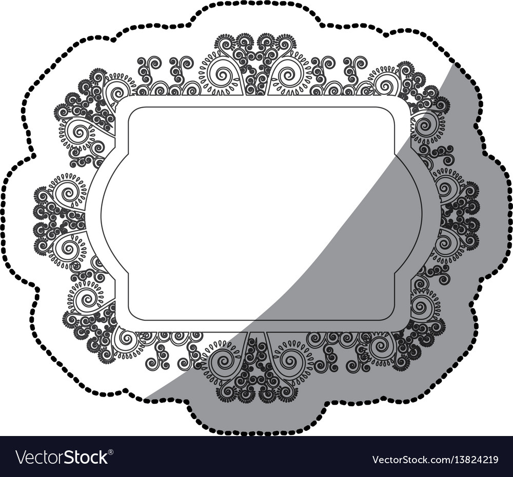 Sticker monochrome oval rectangle heraldic baroque