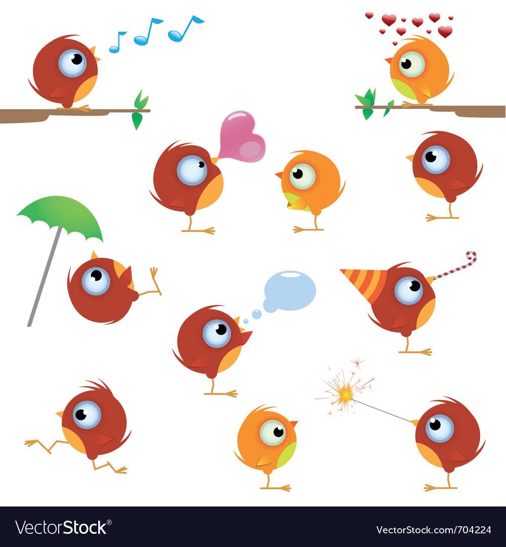 Cartoon canaries bird set