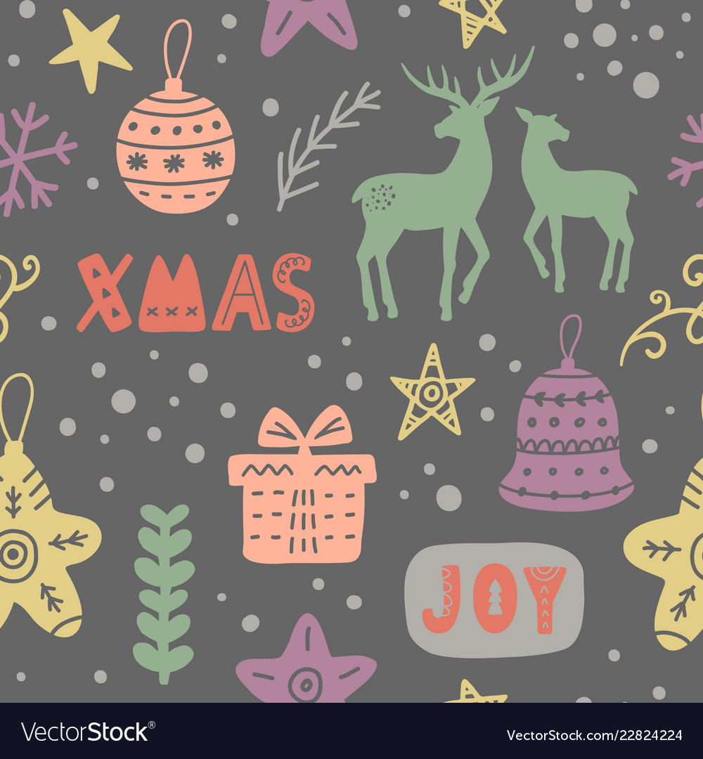 Christmas decoration doodles seamless pattern