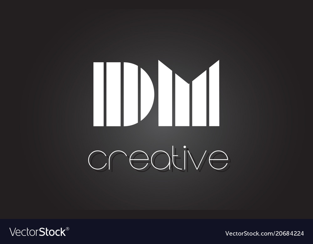 Dm D M Letter Logo Design With White And Black Vector Image