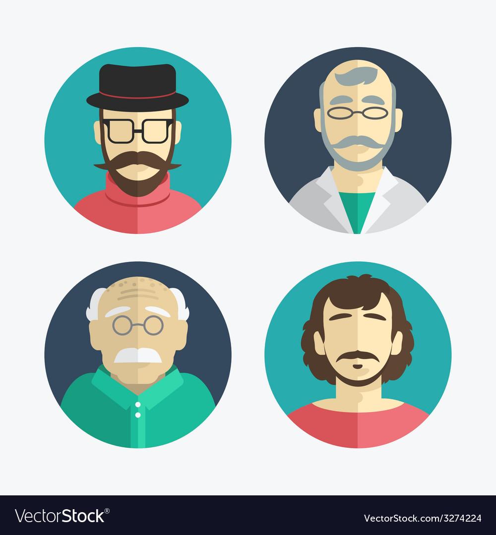 Flat design men icons