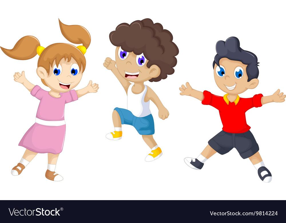 Funny tree children cartoon jumping