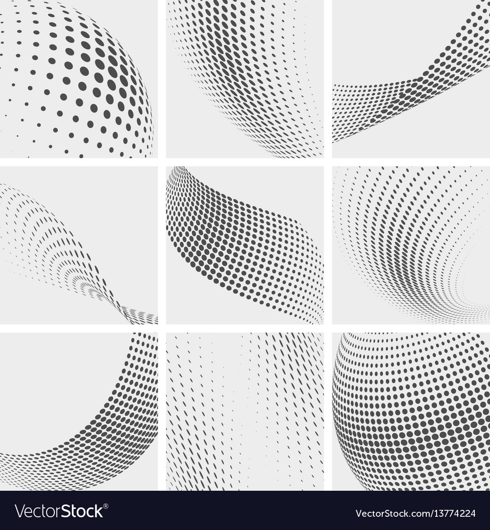 Halftone dots group pointing abstract vector image