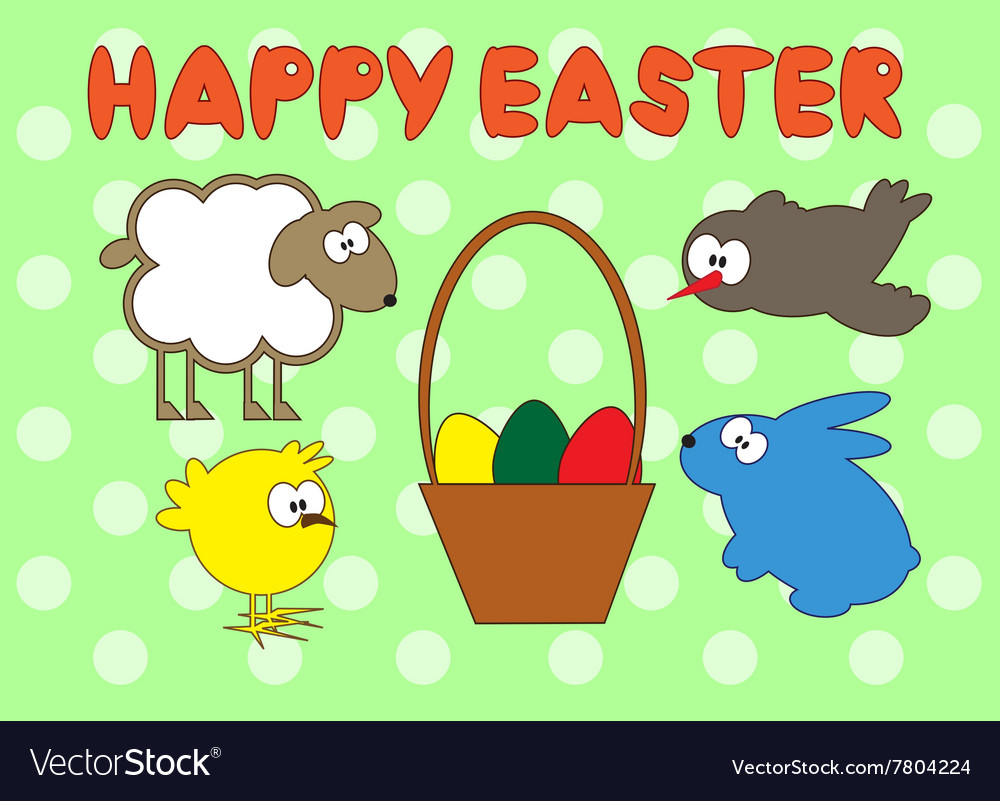 Happy Easter animal set on green peas background