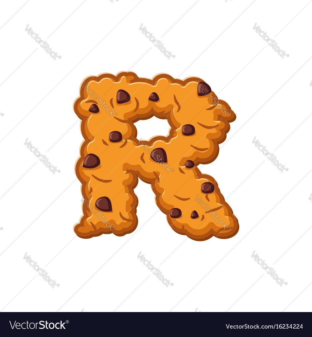 r letter cookies cookie font oatmeal biscuit vector image