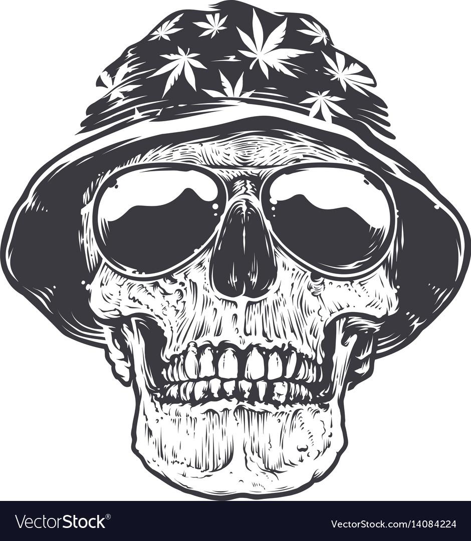 Rasta skull in hat and sunglasses vector image