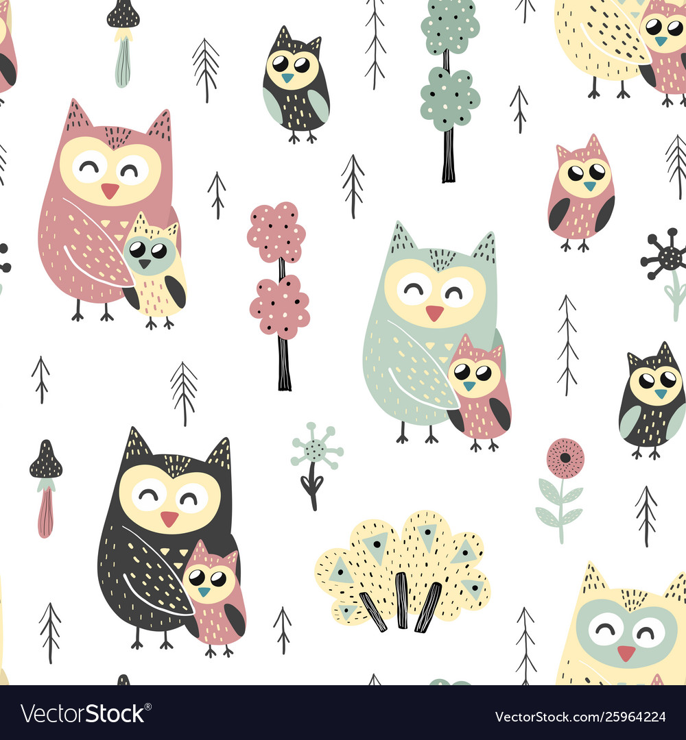 Seamless pattern with cute owls - mother and baby