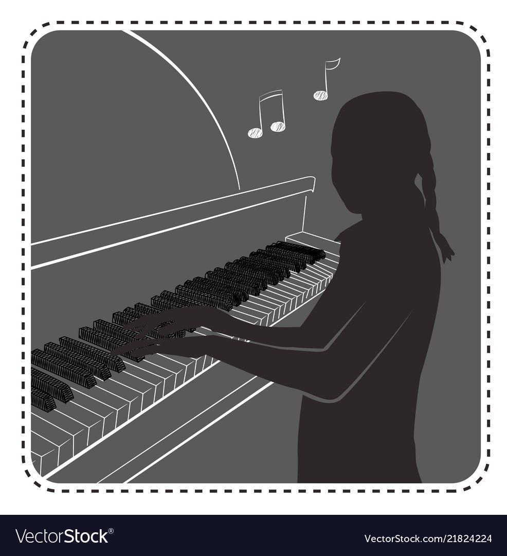 Silhouette avatar girl piano