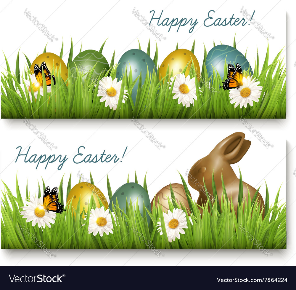 Two Happy Easter banners with Easter eggs and