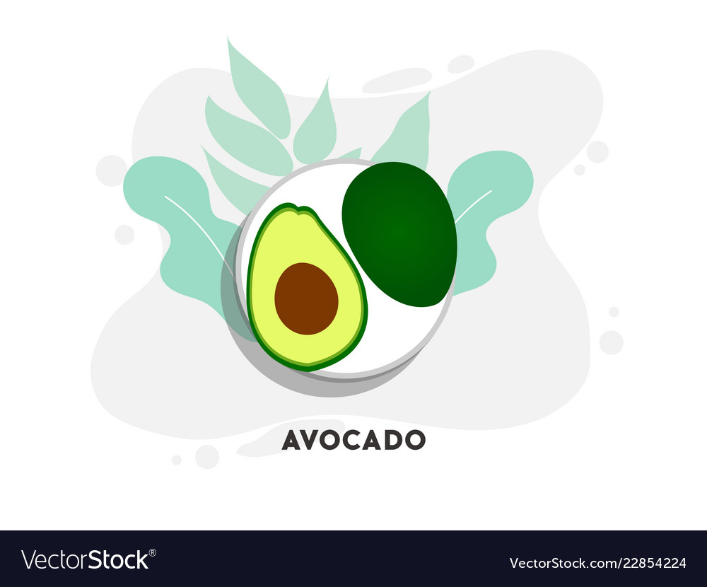 Whole and cut in half avocado with pit