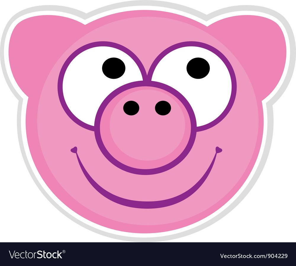 Cartoon cute pink Pig badge