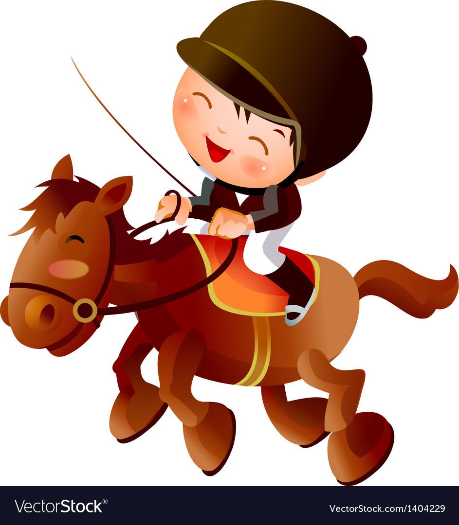 Cartoon Equestrian Boy Royalty Free Vector Image