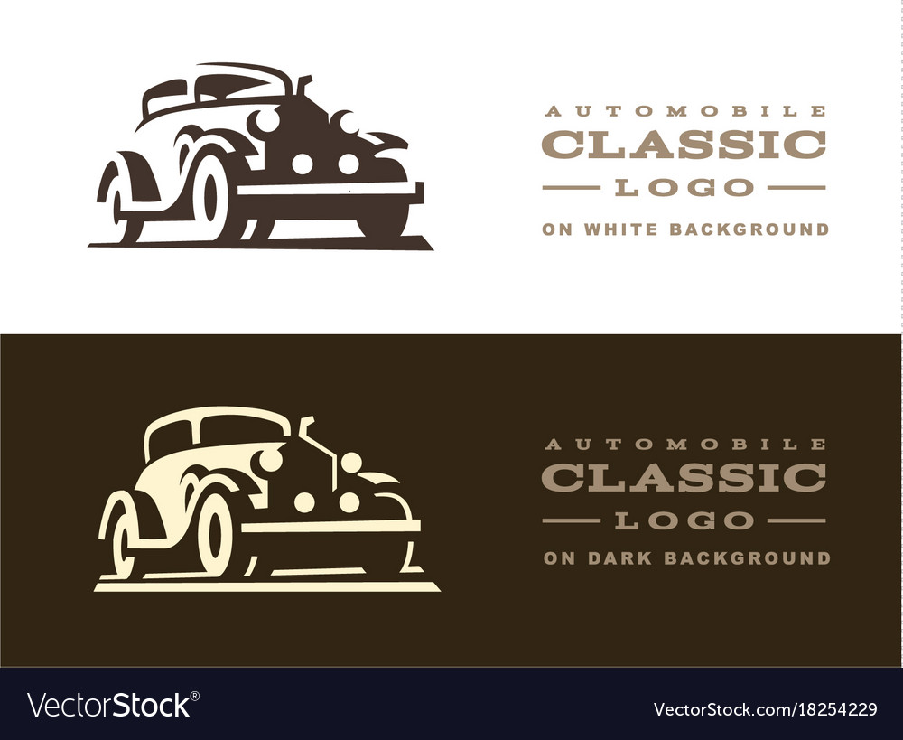 Classic car logo design Royalty Free Vector Image