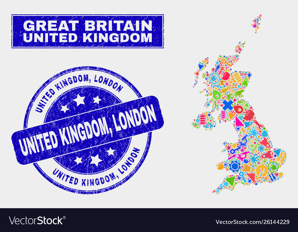 United Kingdom London Map.Collage Tools United Kingdom Map And Grunge United