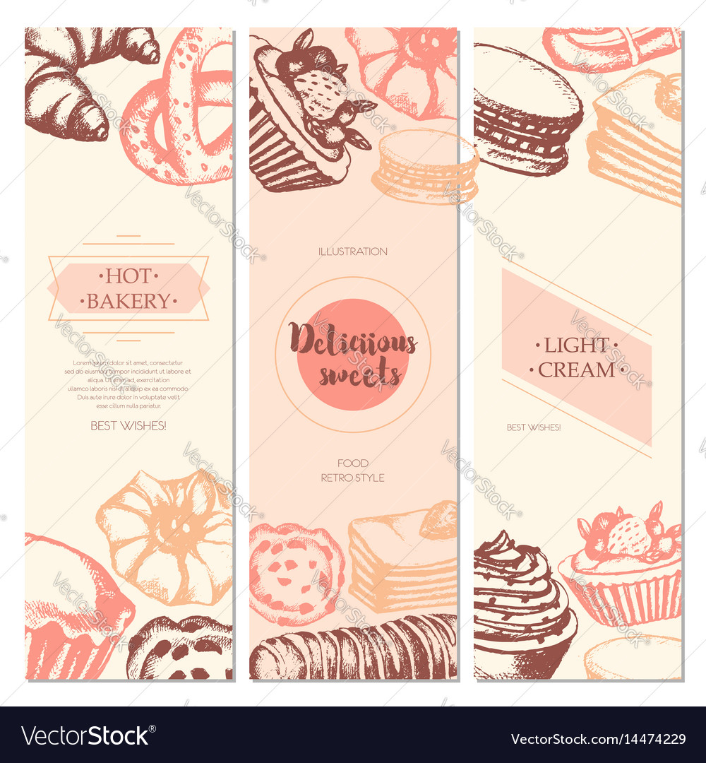 Delicious sweets - color hand drawn square
