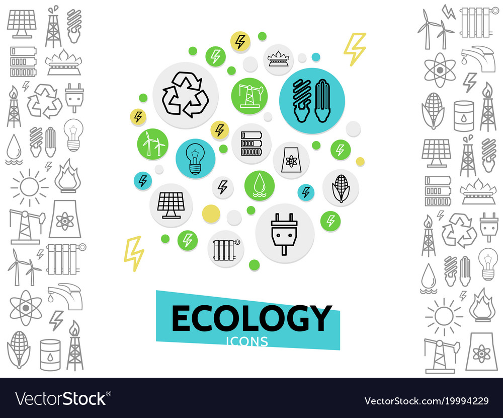 Ecology line icons concept vector image