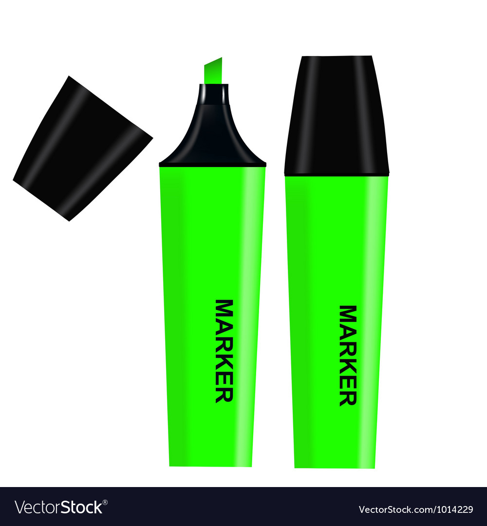 Green Highlighter isolated on white background vector image