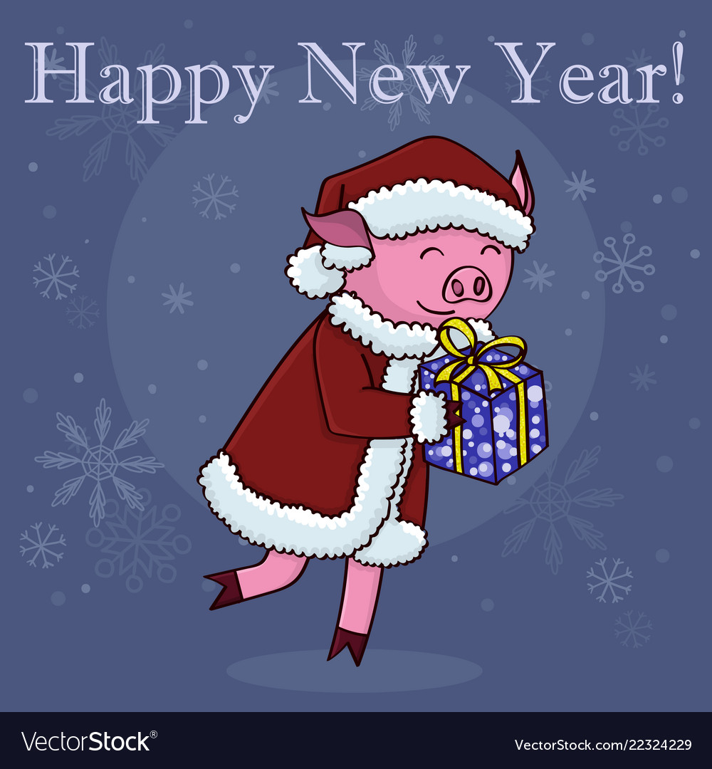 happy new year card cartoon pig with gift vector image