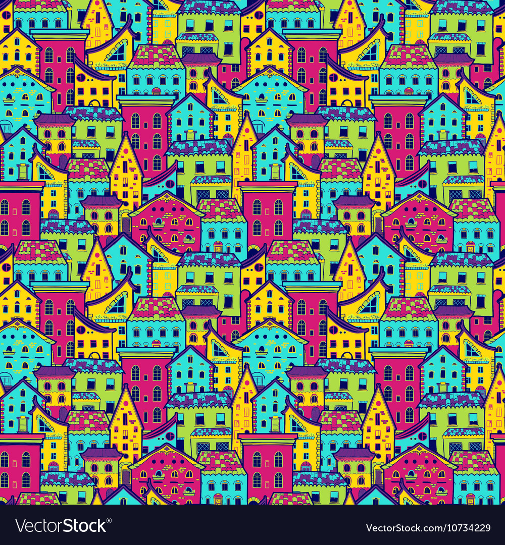 Houses Pattern Big Color