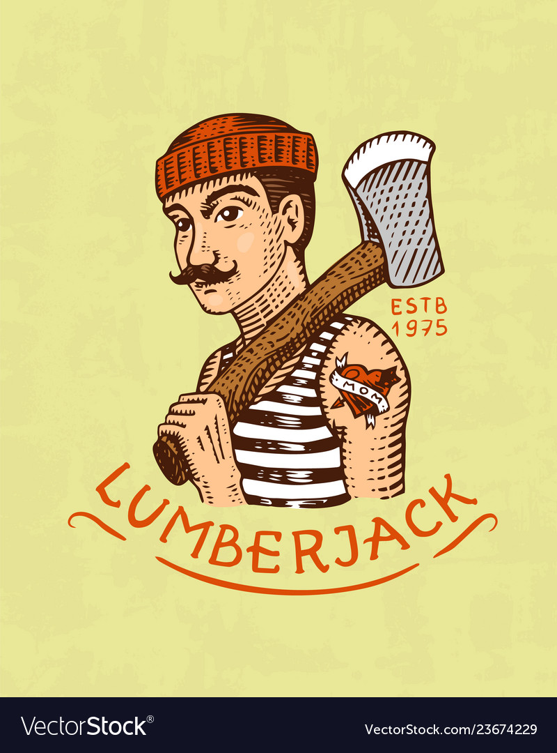 Lumberjack logo camping label trip in the