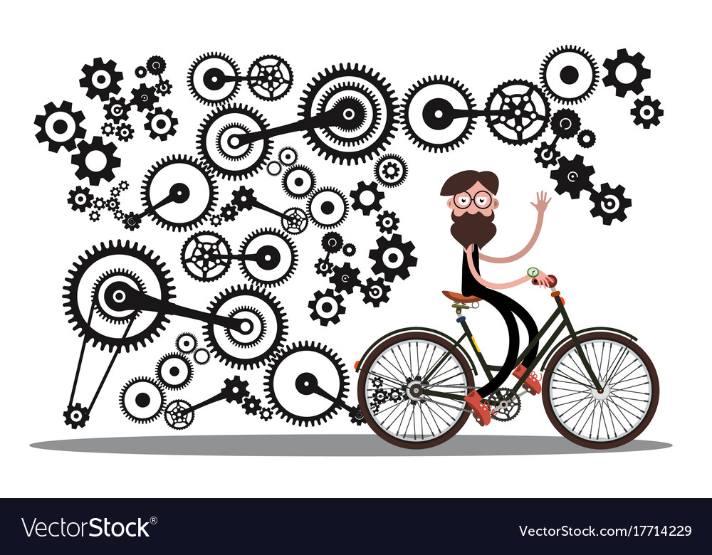 Man on bicycle with cogs - gears isolated on