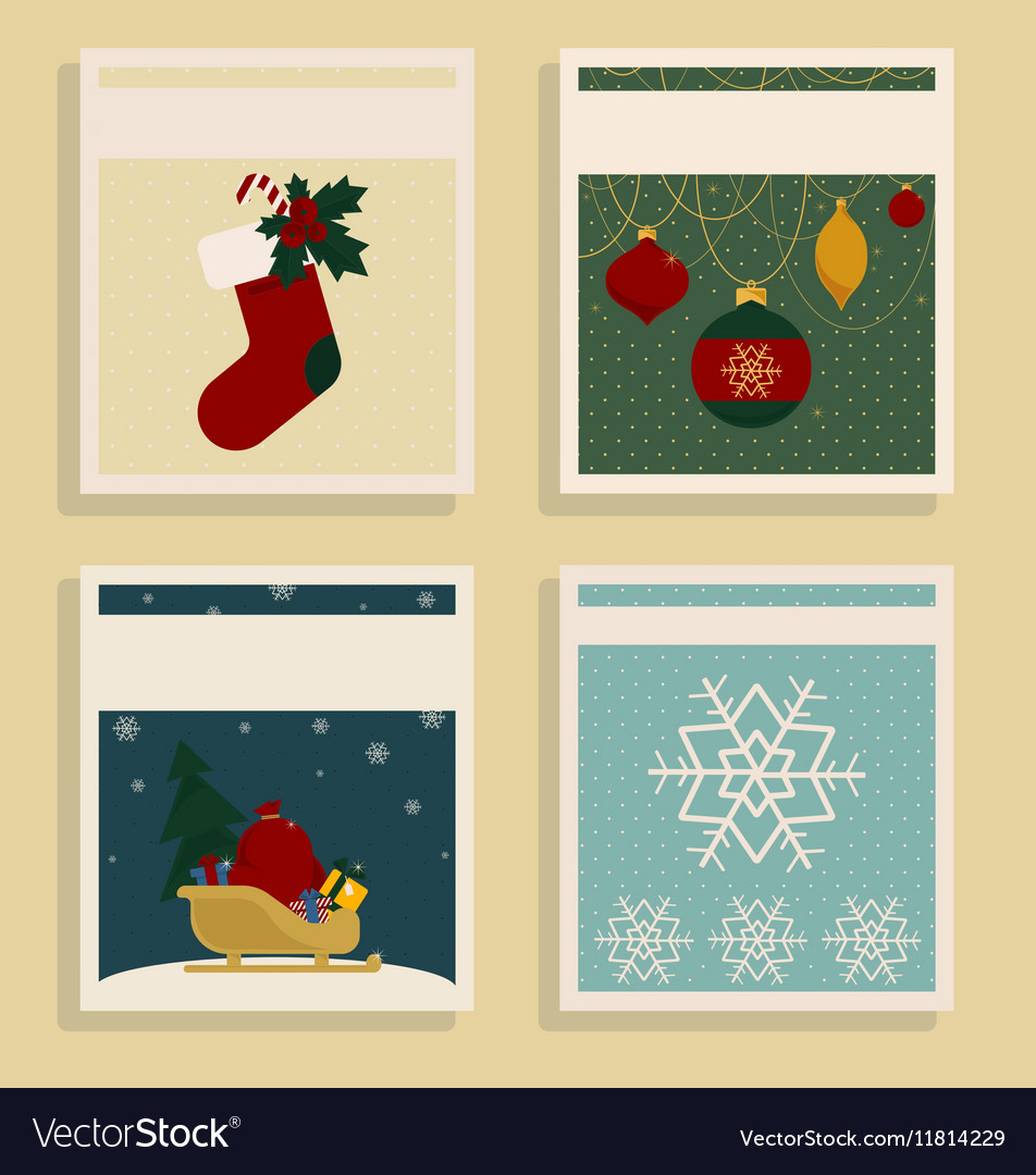 Merry Christmas and Happy New Year Set Of Card
