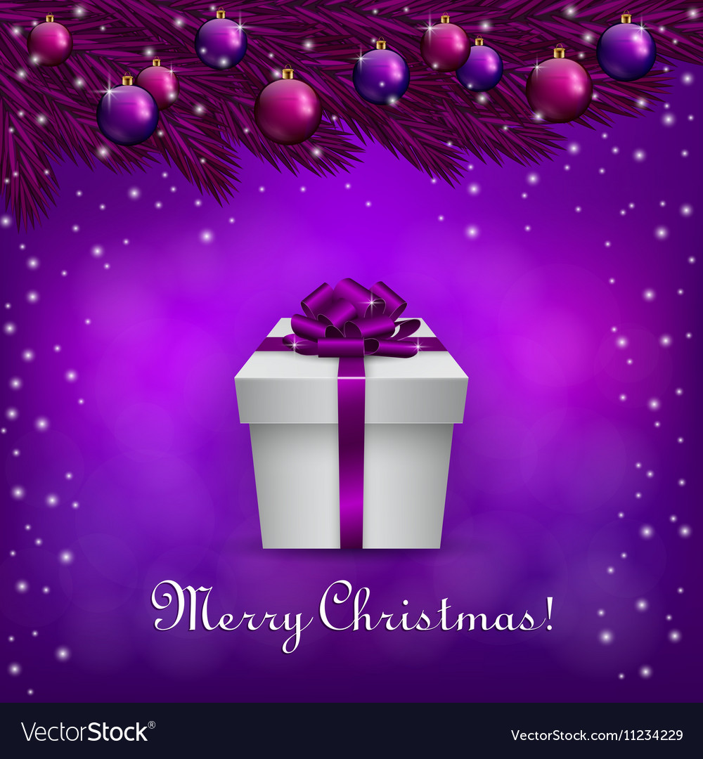 Purple christmas background with a present box vector image