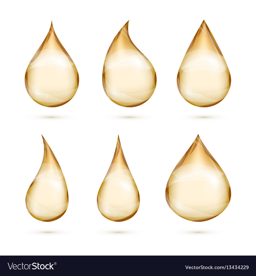 Realistic oil drops set isolated white