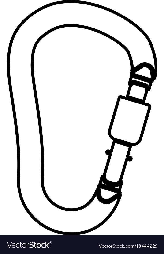 Safety Hook Or Carabiner Hook Black Icon Vector Image