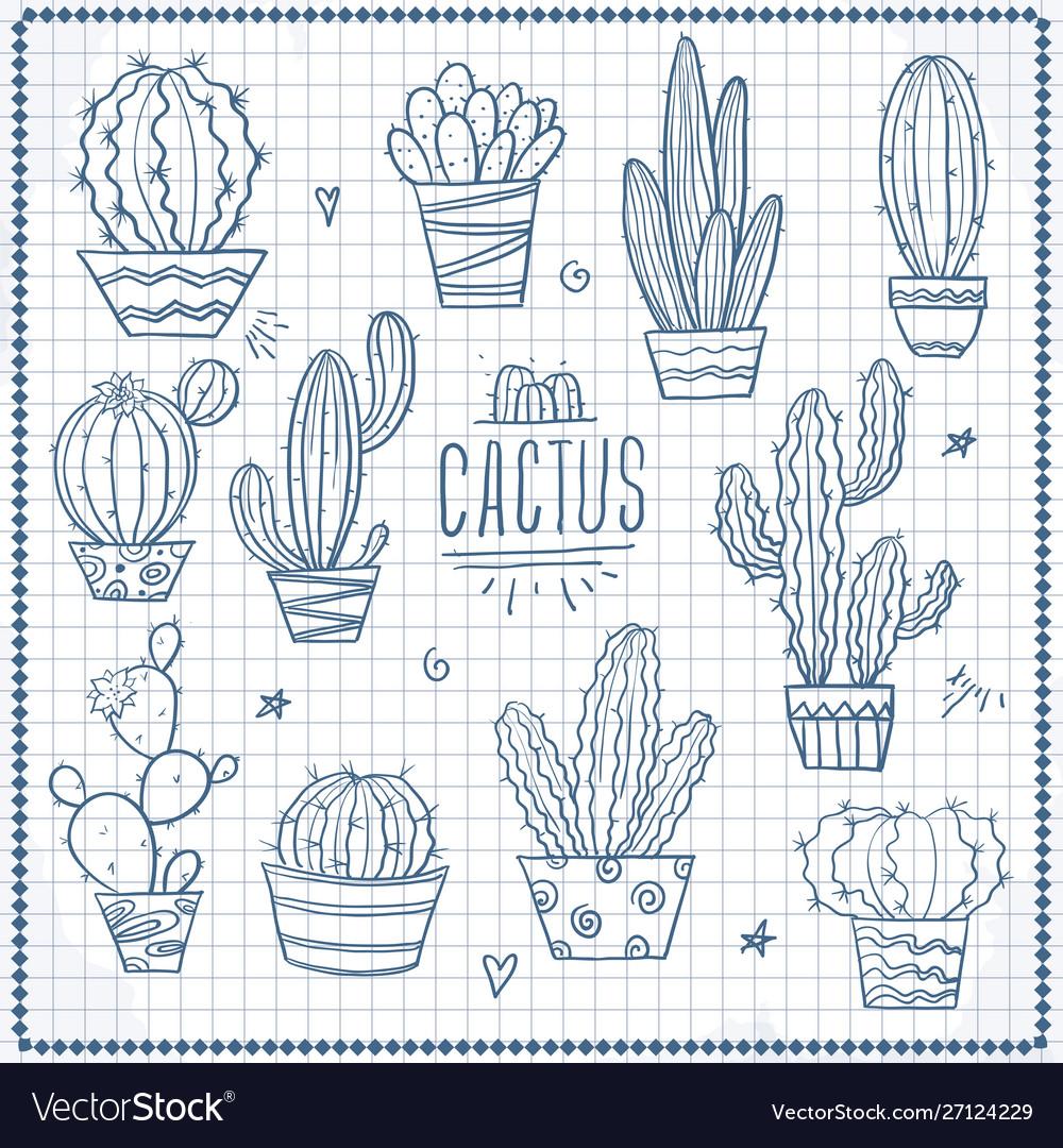 Set cacti doodle hand drawn