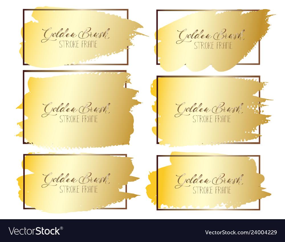 Set of golden brush stroke frame