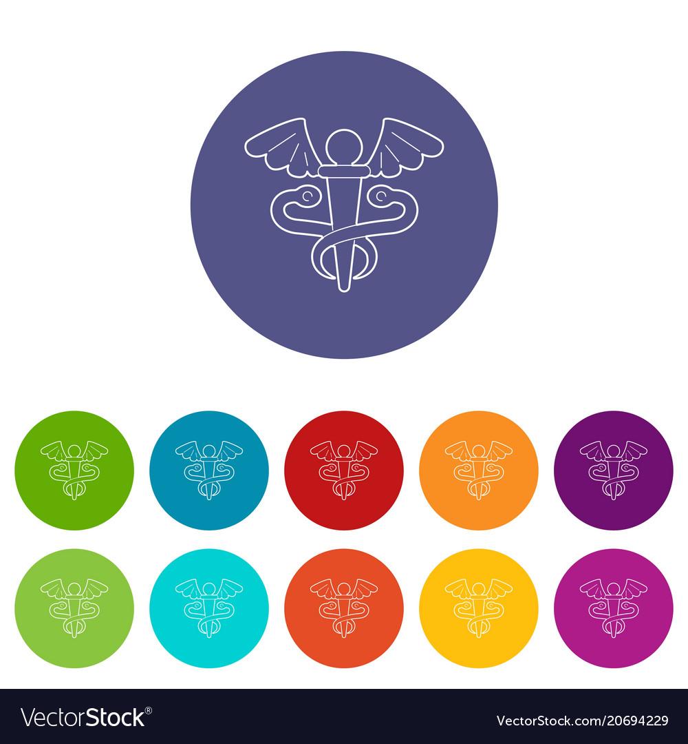 Sign medicine icons set color