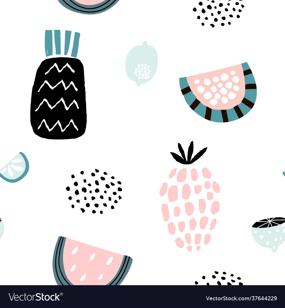 Summer pattern with creative fruits pineapple