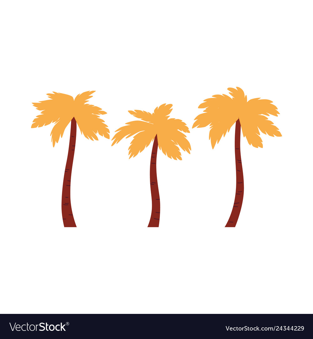 Three palm trees icon with orange leaves in flat
